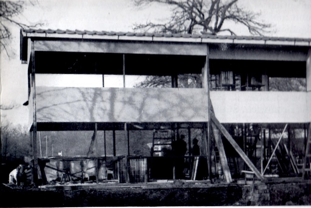The Howard House Original  Prototype A House Under Construction at Datchet Slough, Showing Installation of Asbestos Cement Panels