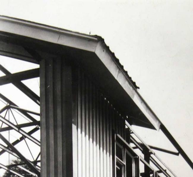 original image of bisf house partial clad in sheet metal with exposed frame 1945